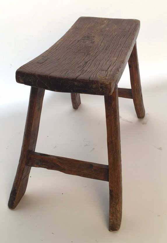 Antique Rustic Stool with Splayed Legs