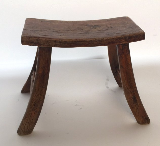Antique Rustic Stool with Splayed Legs - 2