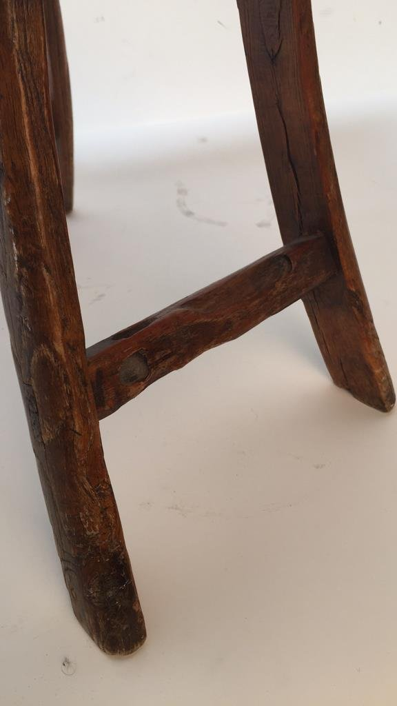 Antique Rustic Stool with Splayed Legs - 3