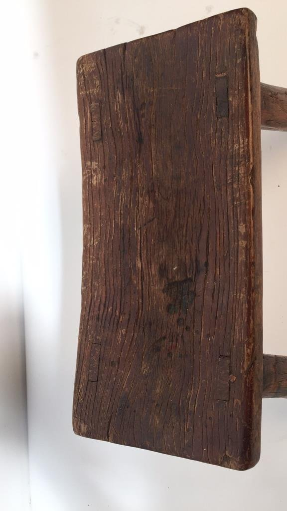 Antique Rustic Stool with Splayed Legs - 4