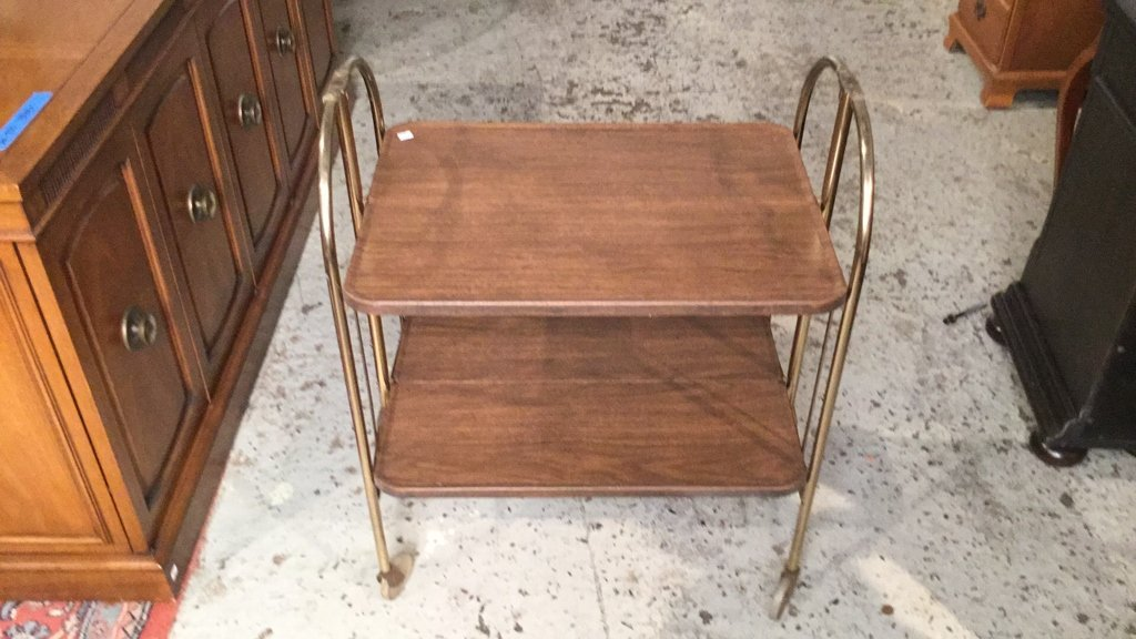 Mid Century Modern Brass Bar Cart - 2