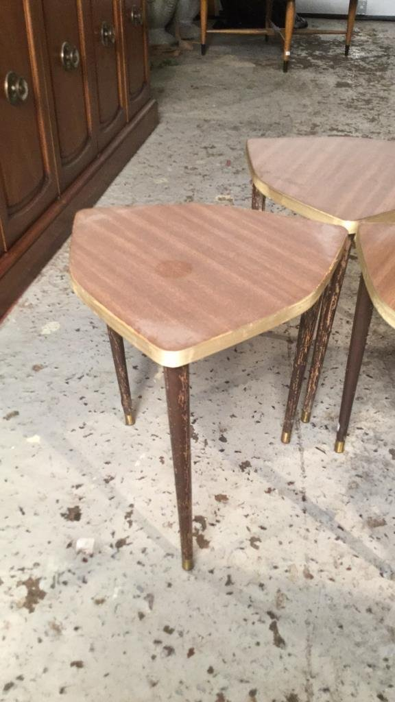 3 Matching Mini Tables Mid Century Modern - 3