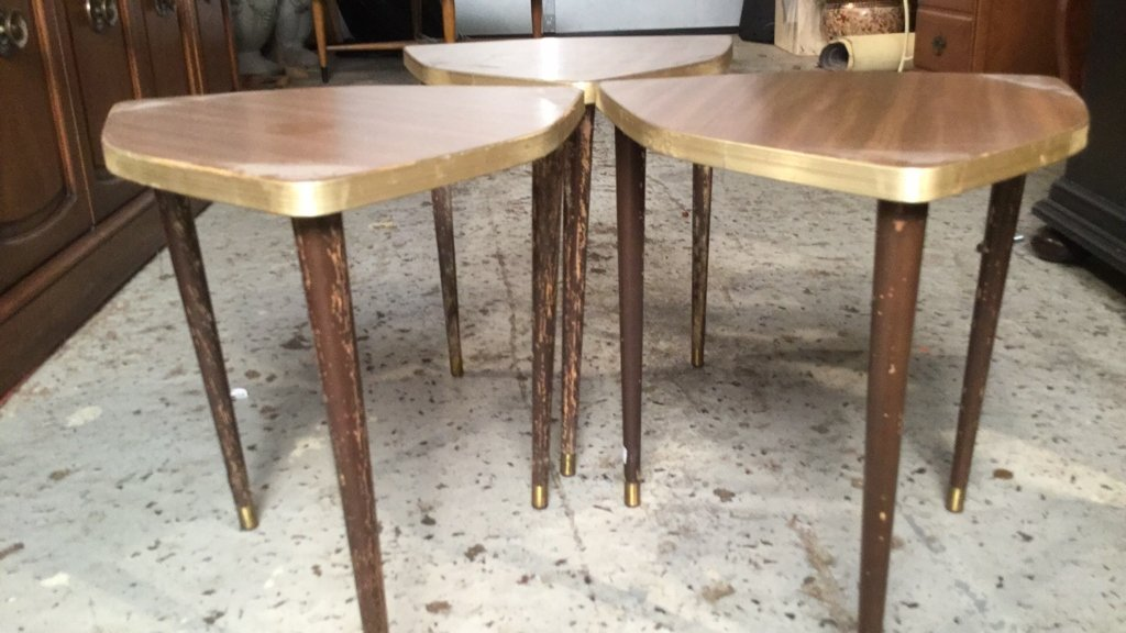 3 Matching Mini Tables Mid Century Modern - 6