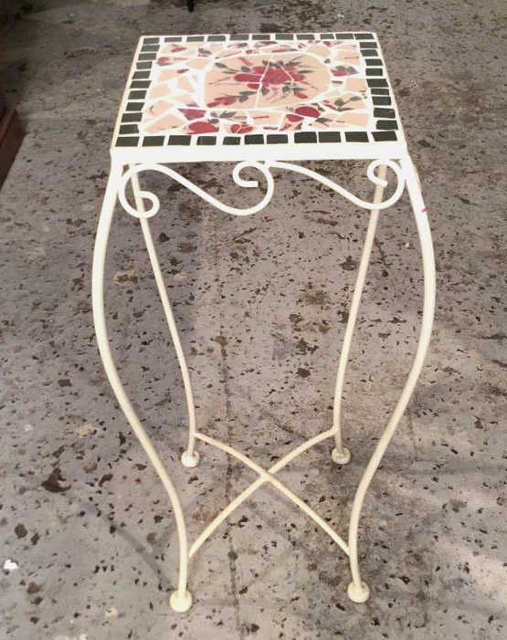 Mosaic Tile & Iron Plant Stand