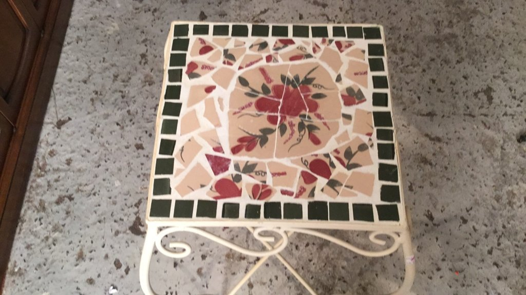 Mosaic Tile & Iron Plant Stand - 2