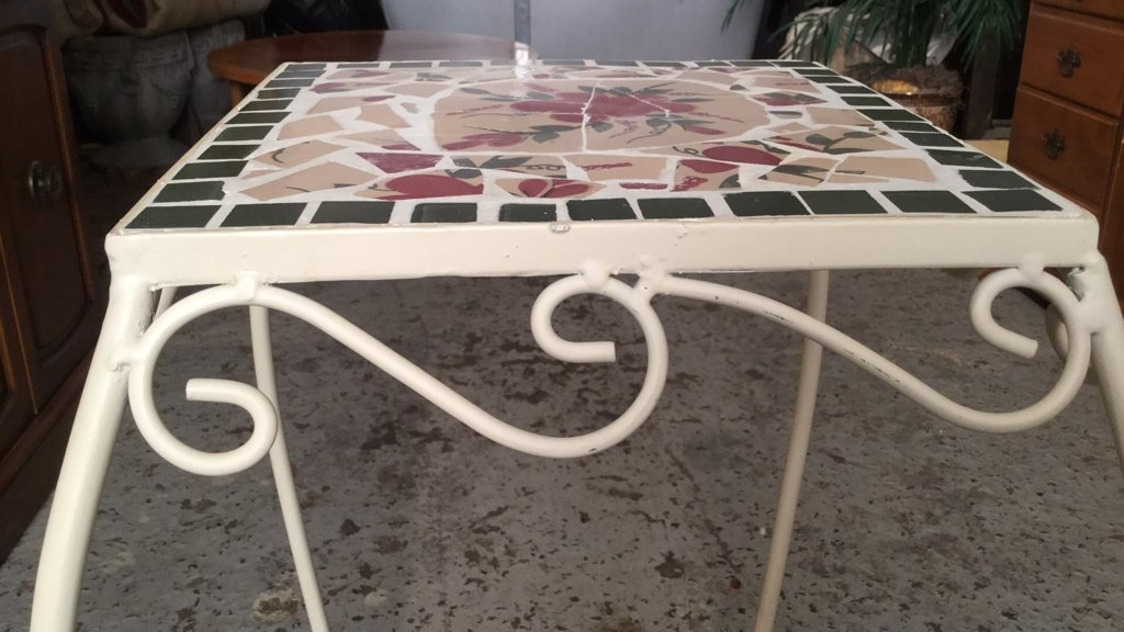 Mosaic Tile & Iron Plant Stand - 4