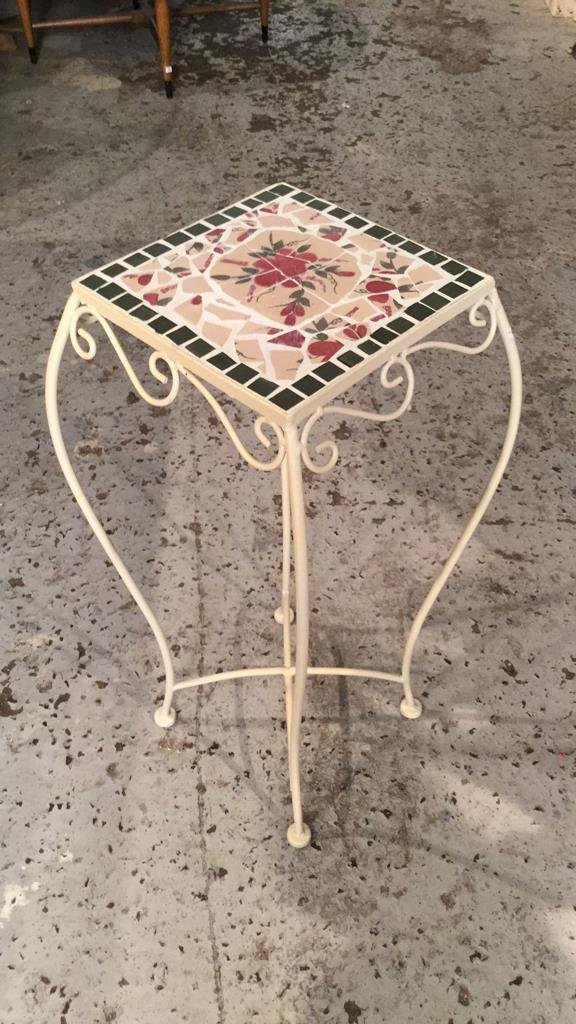 Mosaic Tile & Iron Plant Stand - 5