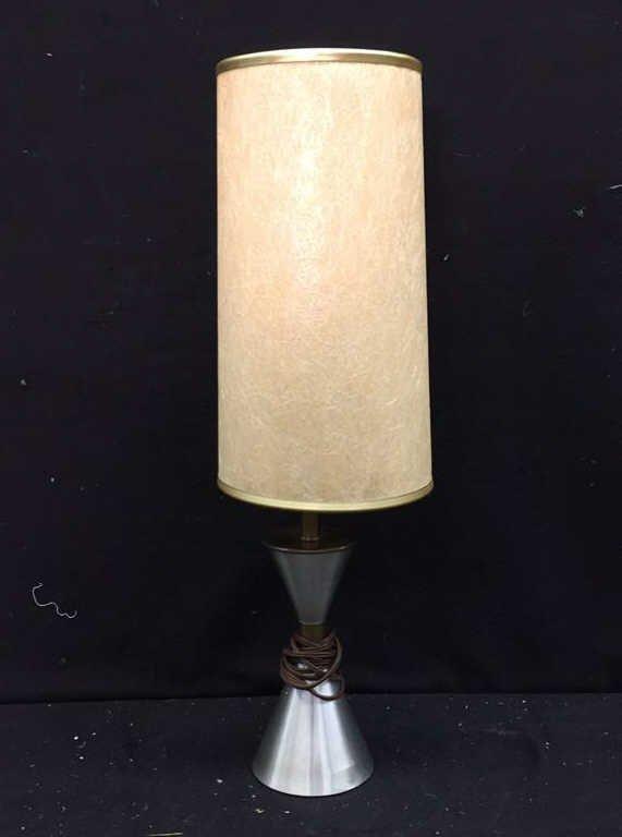Single Silver and Tan Lamp
