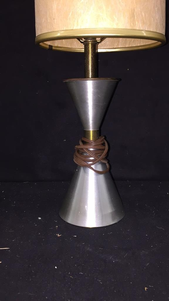 Single Silver and Tan Lamp - 2