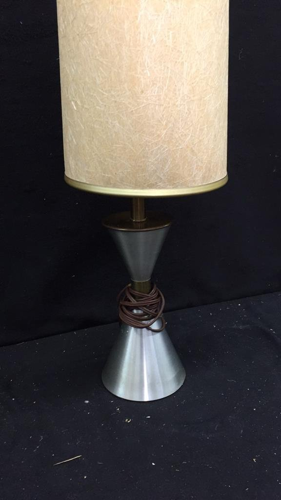 Single Silver and Tan Lamp - 3