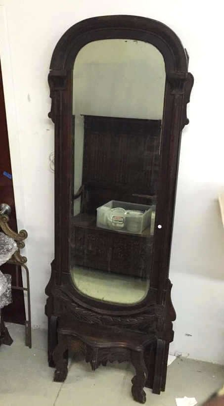 Vintage Mahogany Wood Tall Standing Mirror - 2