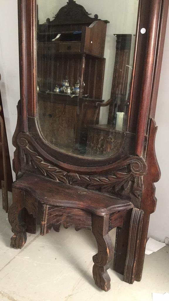 Vintage Mahogany Wood Tall Standing Mirror - 3