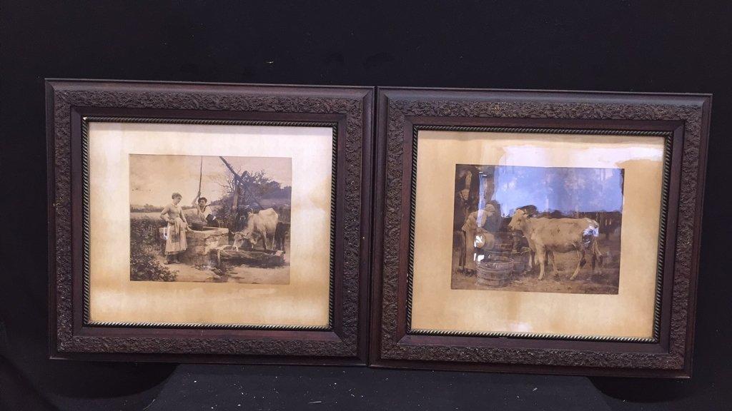 2 Piece Framed Vintage Artworks