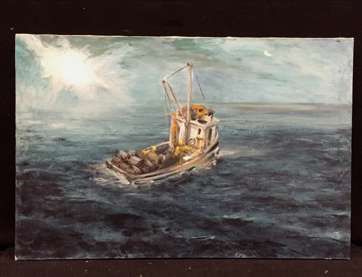Unframed Ocean and Boat Oil Painting