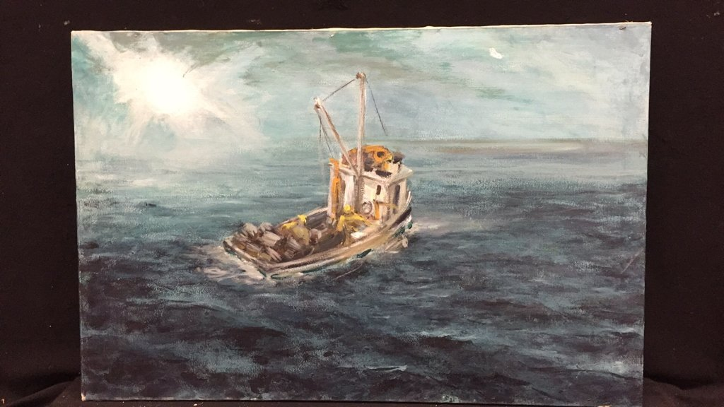 Unframed Ocean and Boat Oil Painting - 3