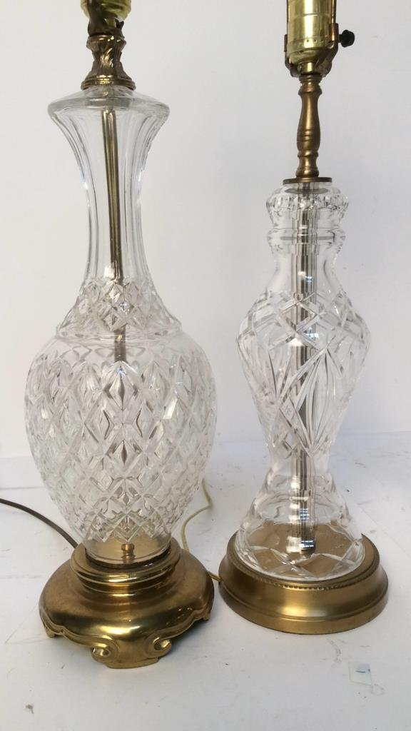2 Vintage Glass and Brass Table Lamps