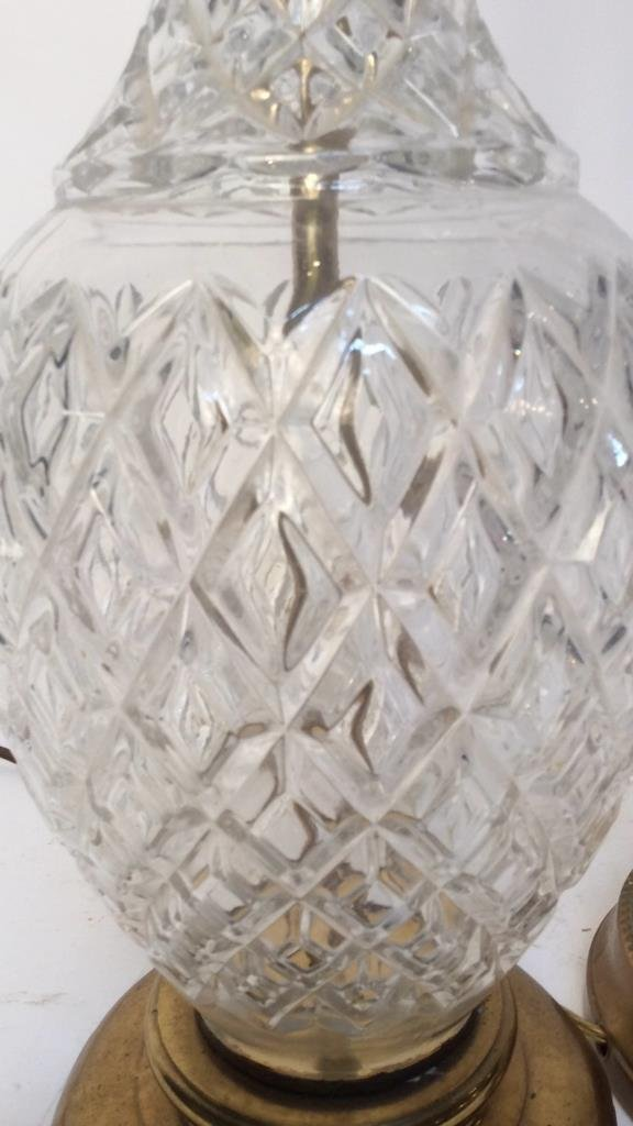 2 Vintage Glass and Brass Table Lamps - 2