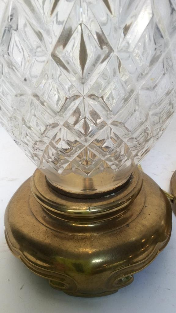 2 Vintage Glass and Brass Table Lamps - 5