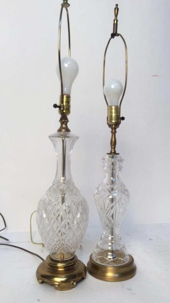 2 Vintage Glass and Brass Table Lamps - 6