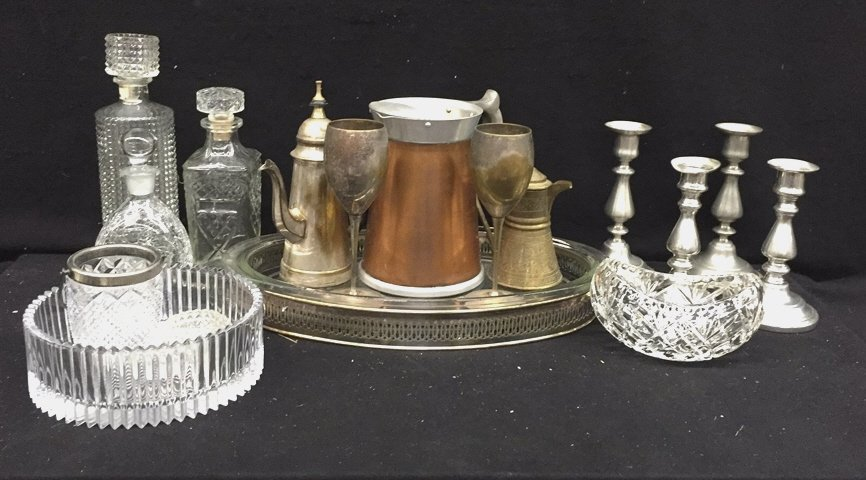 17 Piece Glass Brass and Silver Set