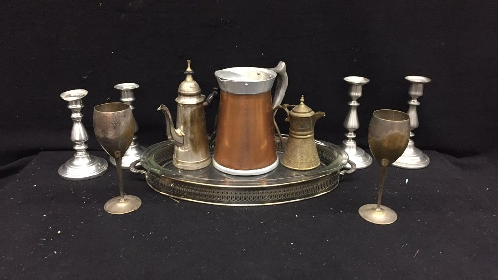 17 Piece Glass Brass and Silver Set - 3