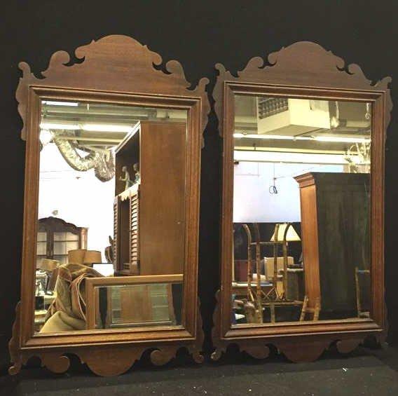 2 Vintage Wooden Mirrors