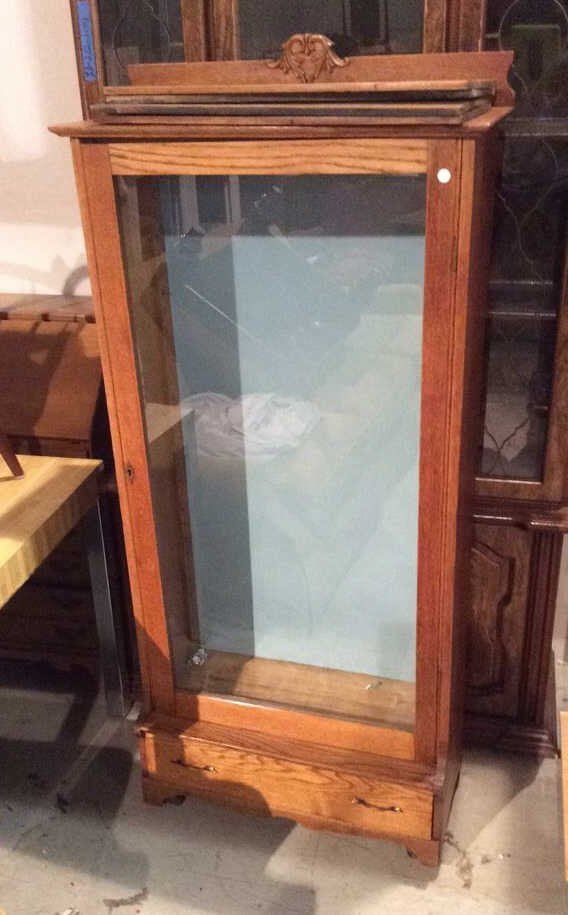 Mid Century Modern Glass And Wooden Cabinet