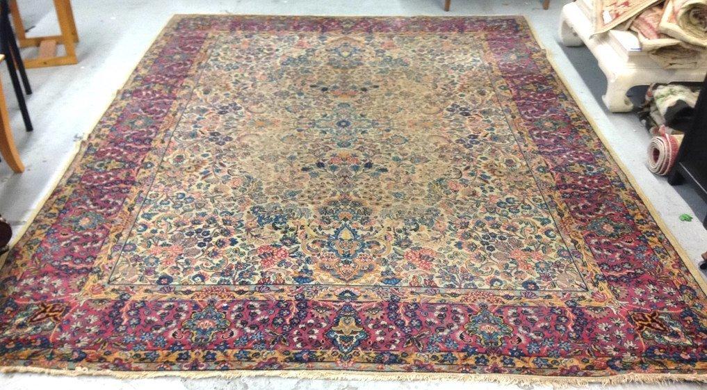 Colorful Vintage Hand Stitched Carpet