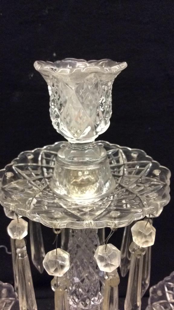 Pair of Antique Crystal Drop Candelabra - 3