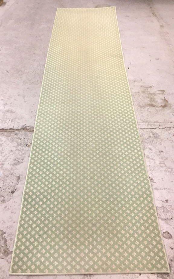 Green & White Geo Floral Print Runner