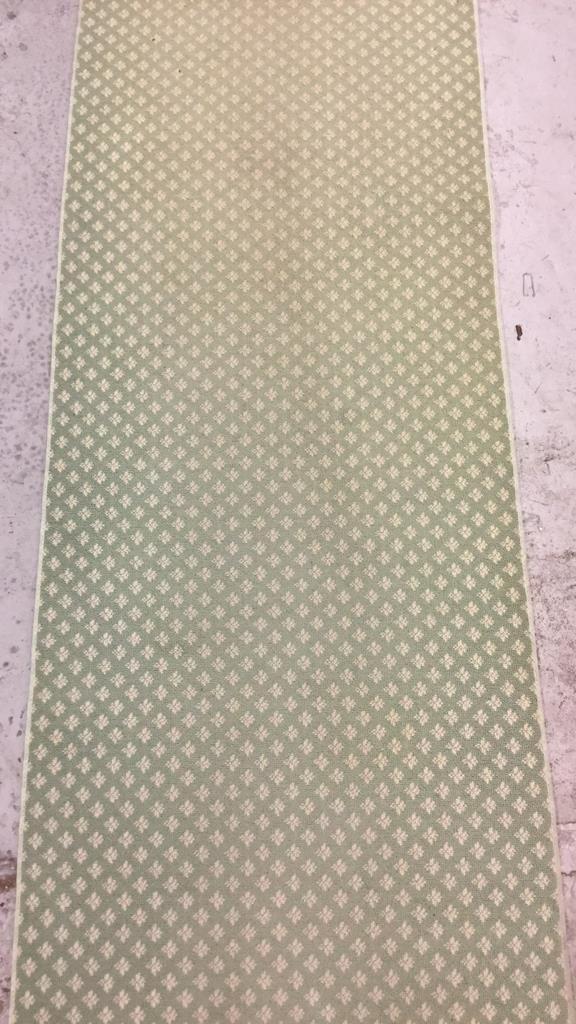 Green & White Geo Floral Print Runner - 3