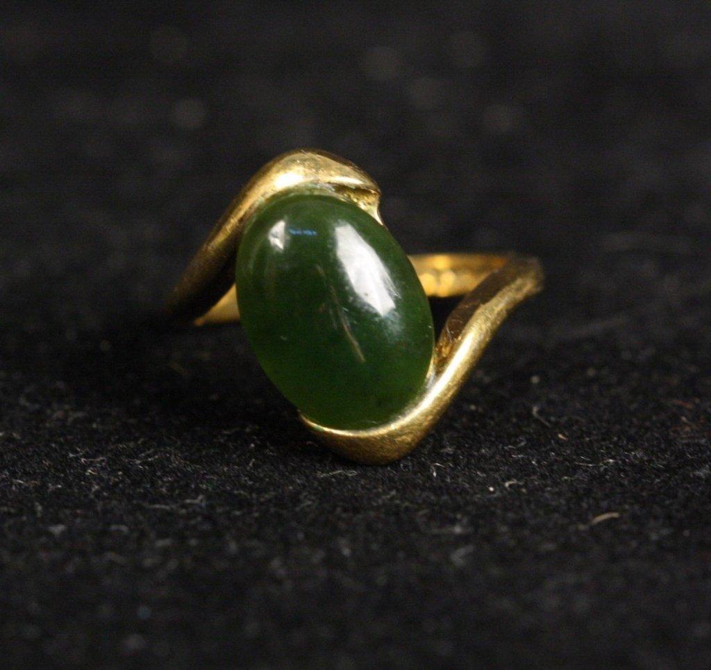 18 KT HGE Jade Stone Ring