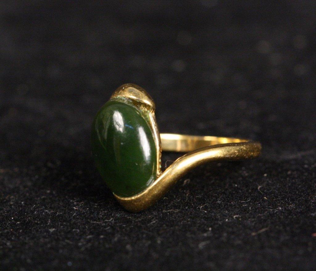 18 KT HGE Jade Stone Ring - 2
