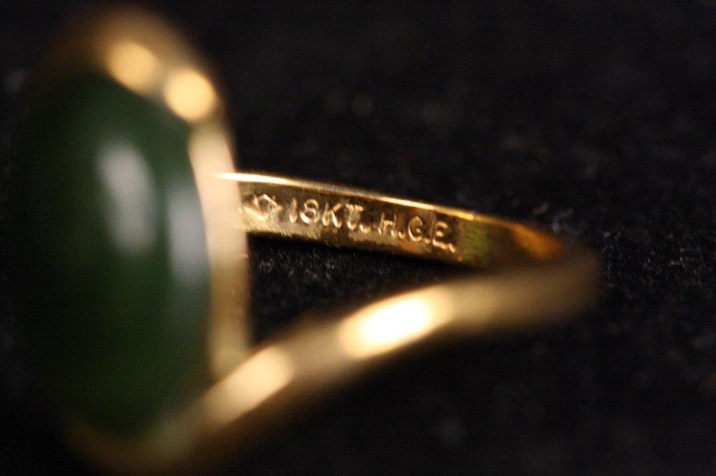 18 KT HGE Jade Stone Ring - 5
