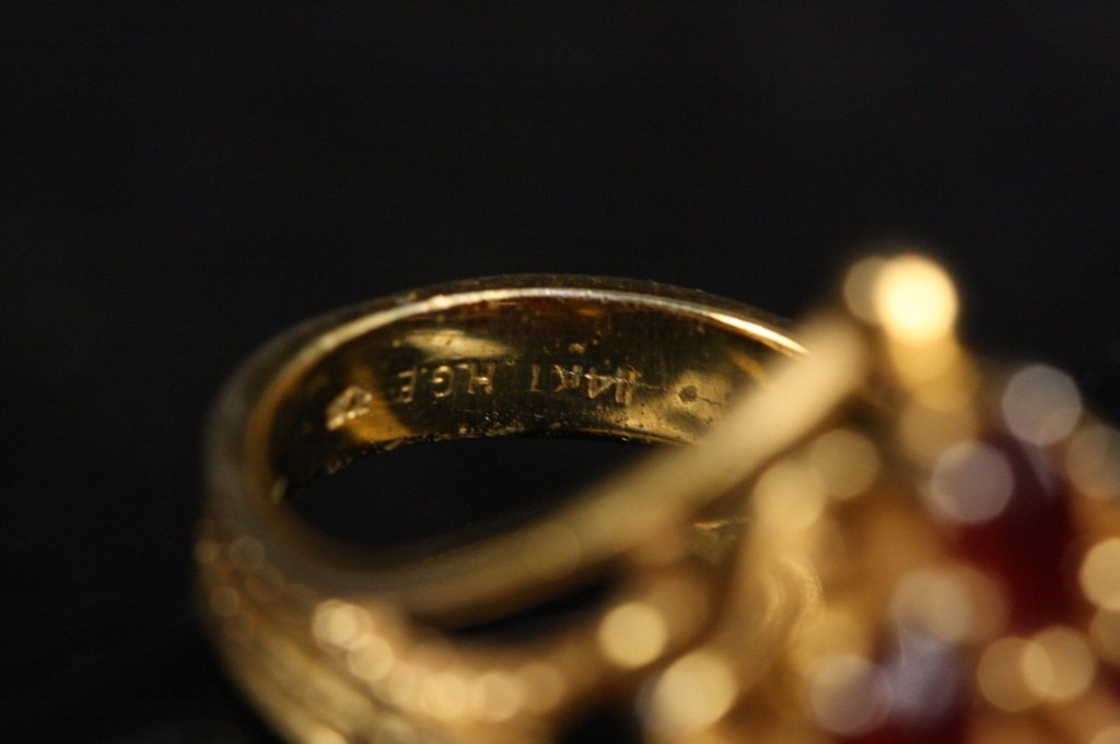 18 KT HGE Jade Stone Ring - 6
