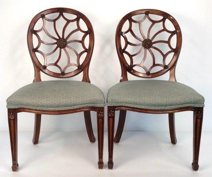Pair Antique Style Hepplewhite Chairs