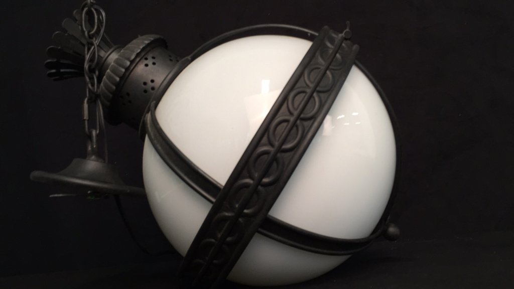 Gyroscope Style Wrought Iron Globe Chandelier - 7