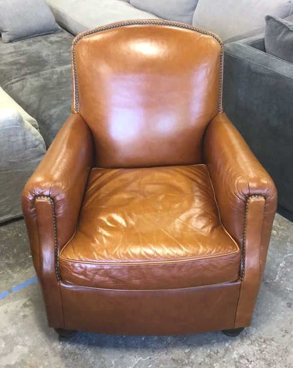 MITCHELL GOLD Caramel Color Leather Armchair