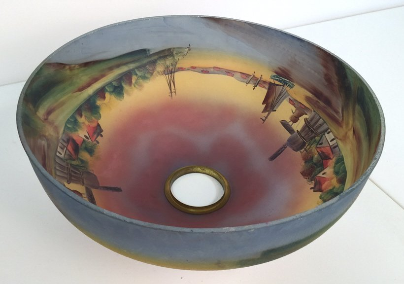 Vintage Hand Painted Glass Lamp Shade