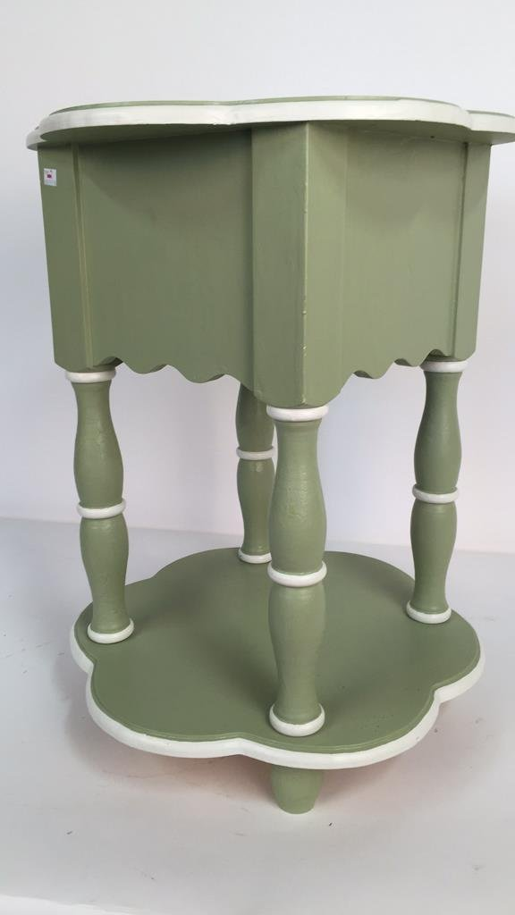 Charming Hand Painted Scalloped Edge Table - 7