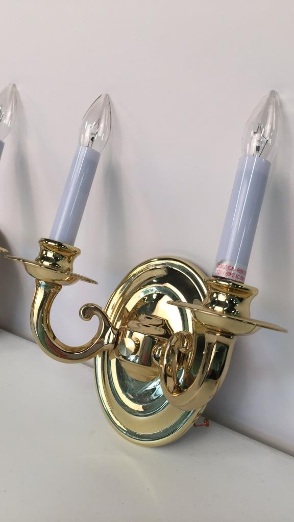 Pair Brass Double Candlestick Sconces - 2