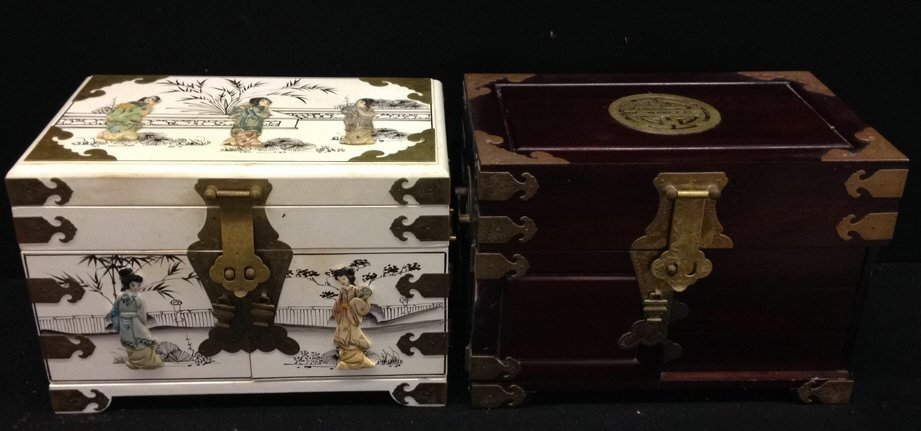 Two Vintage Asian Jewelry Boxes