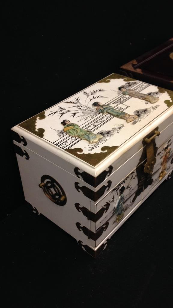 Two Vintage Asian Jewelry Boxes - 7