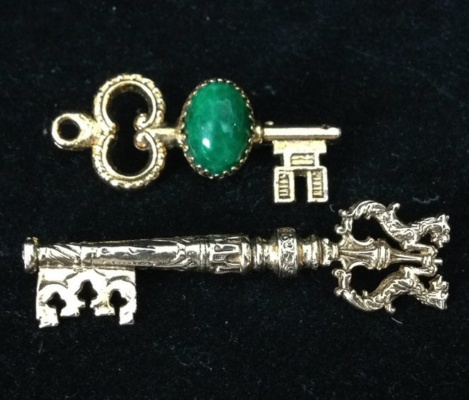 2 Gold Colored Key Shaped Pins