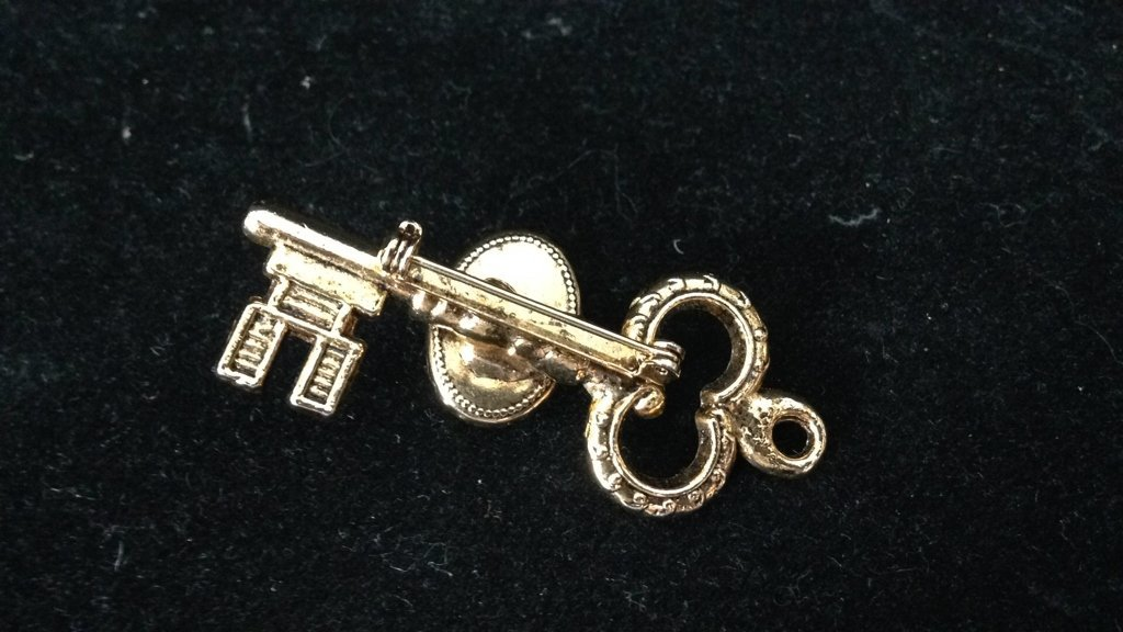2 Gold Colored Key Shaped Pins - 4