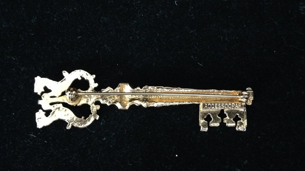 2 Gold Colored Key Shaped Pins - 6