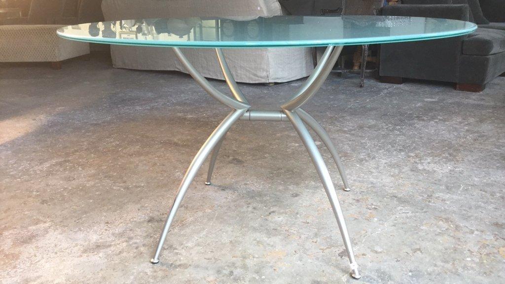 Imported Italian Table Pedestal Custom Glass Top - 3