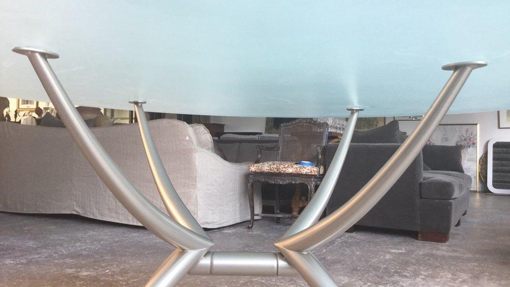 Imported Italian Table Pedestal Custom Glass Top - 4