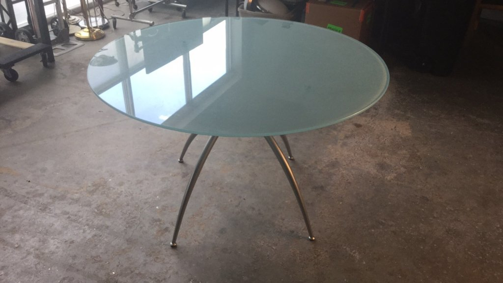 Imported Italian Table Pedestal Custom Glass Top - 8