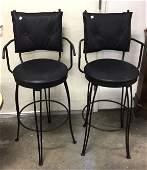 Pair Black Metal Swivel Bar Chairs